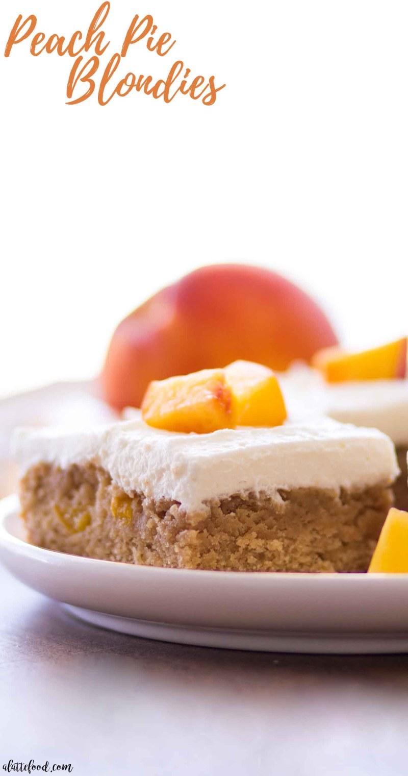 peach blondies on white plate