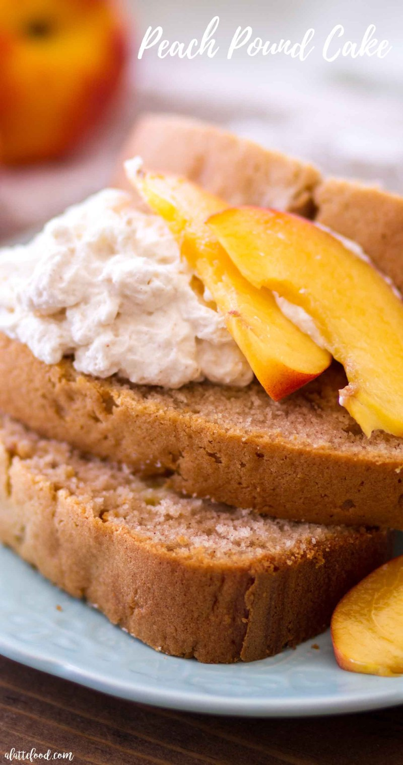 peach pound cake with whipped cream
