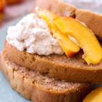 This homemade peach pound cake recipe takes the traditional homemade pound cake recipe and gives it a summer dessert twist with the addition of fresh peaches and homemade whipped cream. An old fashioned pound cake recipe meets peach pie filling and creates one of my favorite summer dessert recipes! You can top this fresh peach pound cake with whipped cream, homemade cream cheese frosting, or even a cinnamon sugar crust.