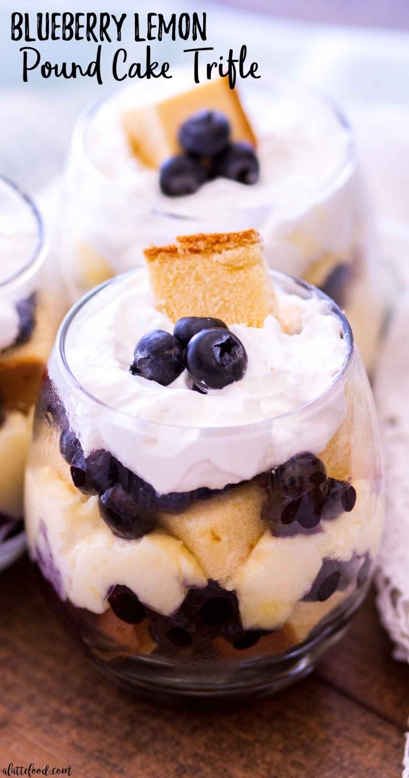 up close photo of blueberry lemon pound cake trifle with text on photo