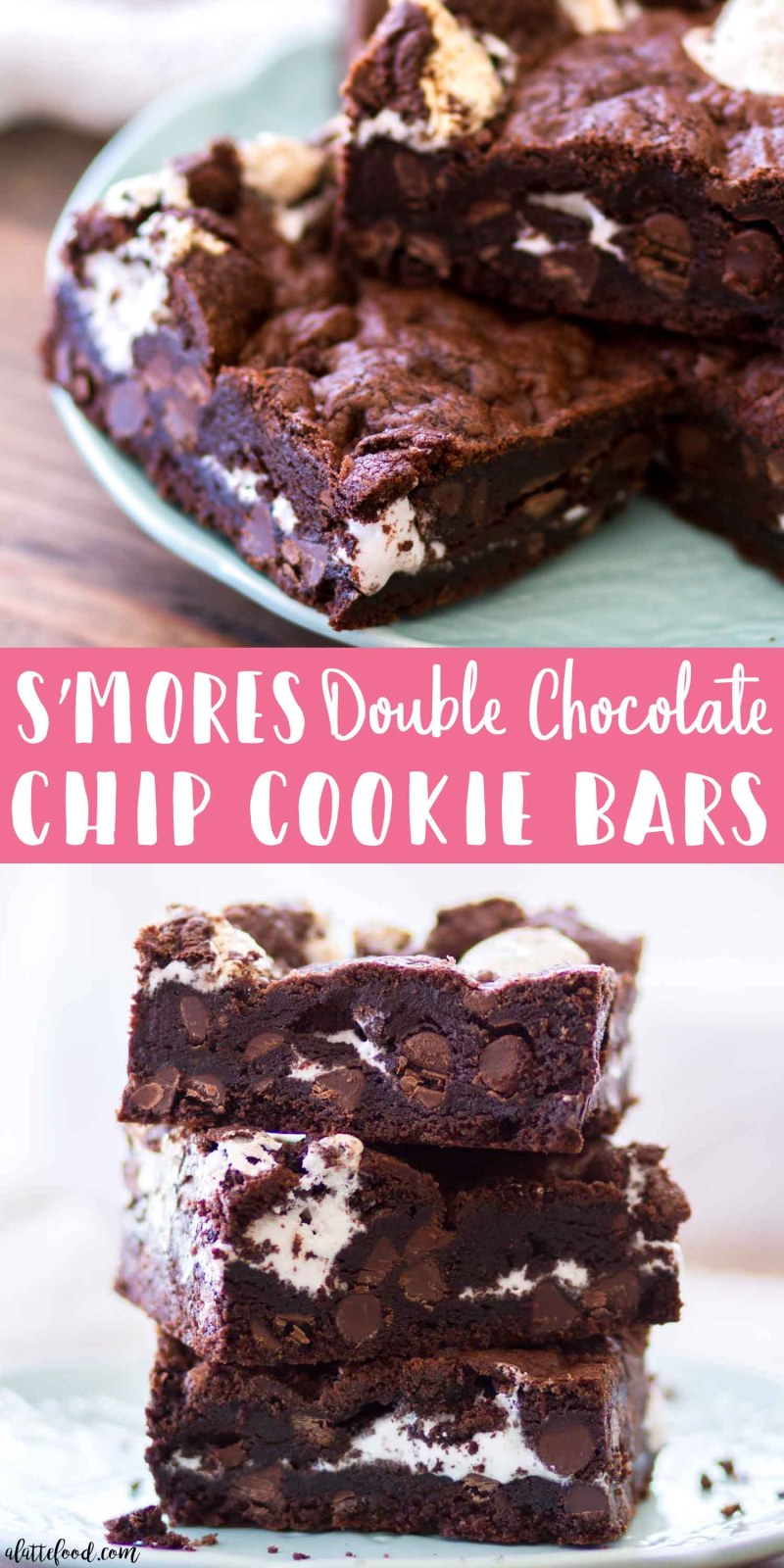 S'mores Double Chocolate Chip Cookie Bars collage photo with text