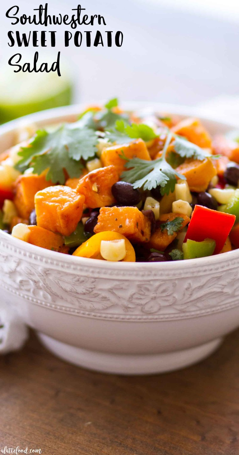 southwestern sweet potato salad in white bowl with text