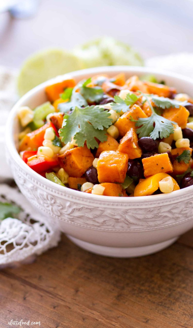 southwestern sweet potato salad with fresh cilantro