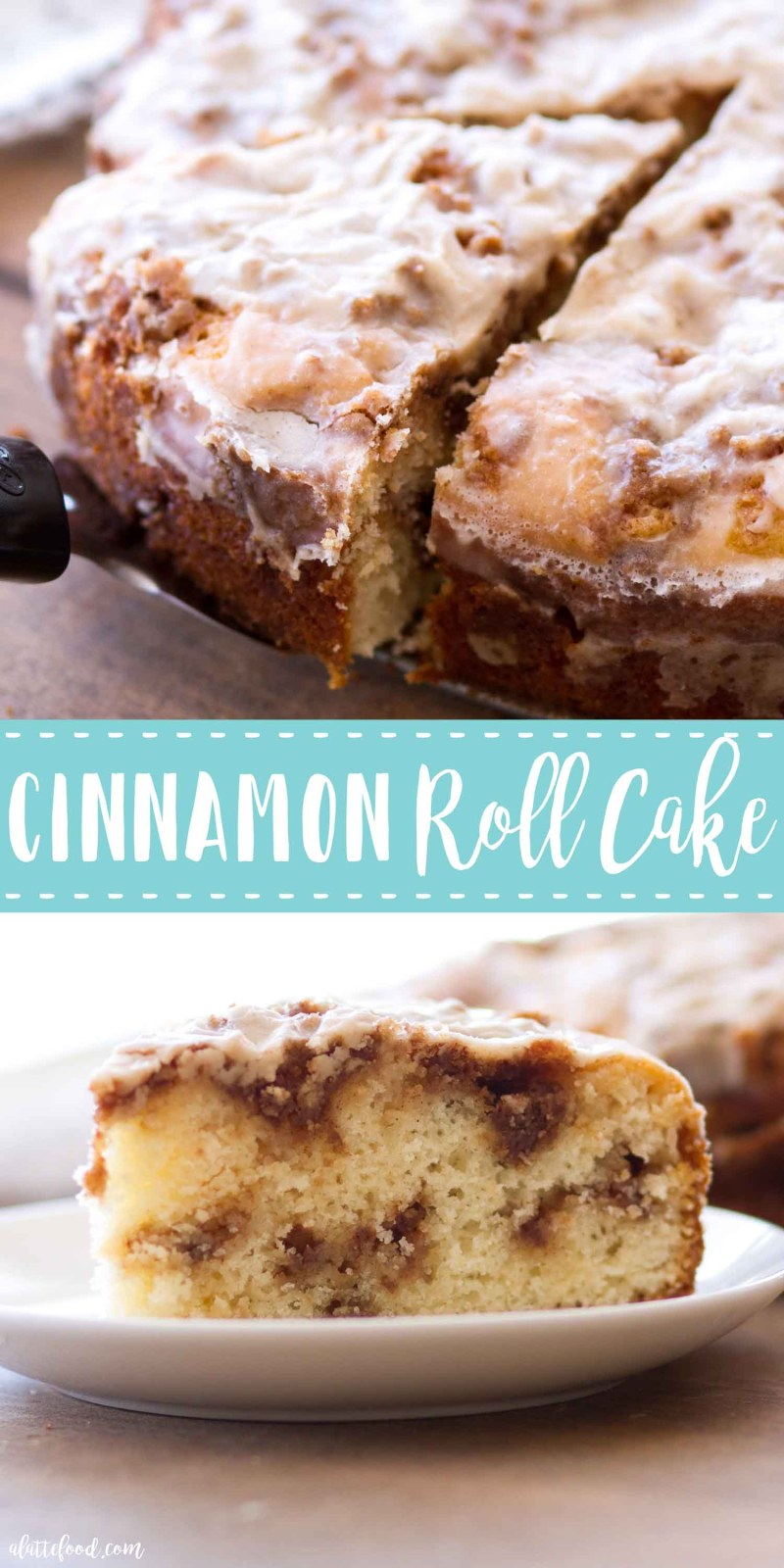This Cinnamon Roll Cake Recipe is a rich yet tender vanilla cake swirled with all of the flavors of a classic cinnamon roll. This Cinnamon Roll Cake, topped with a cinnamon glaze, has become one of my new favorite cake recipes, and is sure to be a new fall dessert favorite! #cake #cinnamon #dessert #recipe #fall