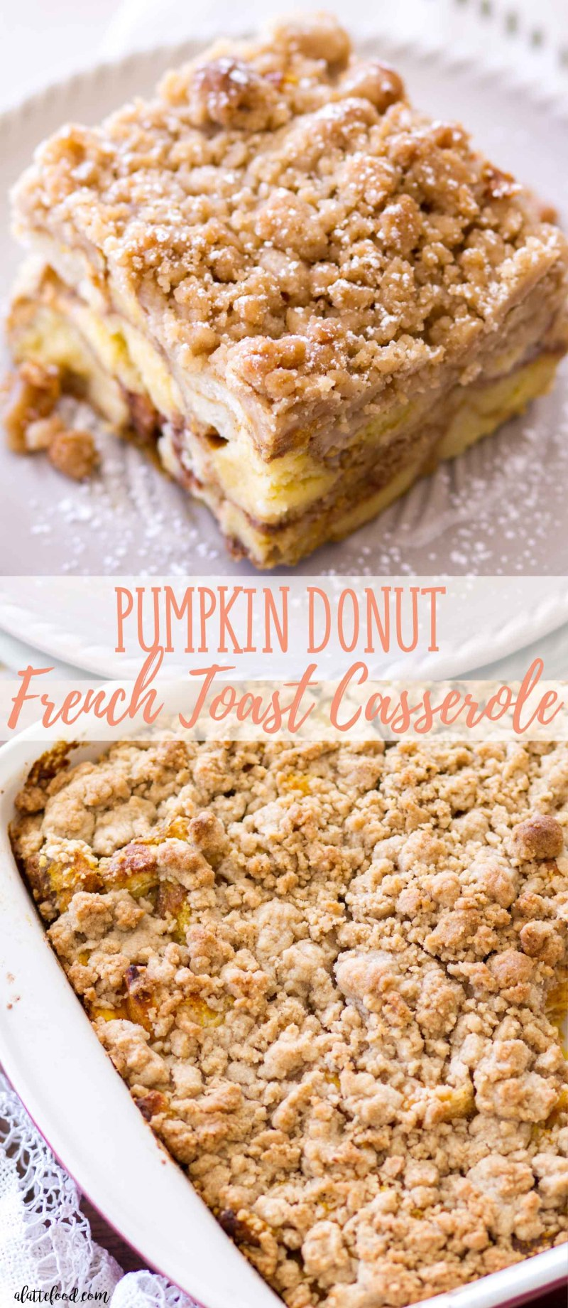 pumpkin donut french toast casserole collage photo