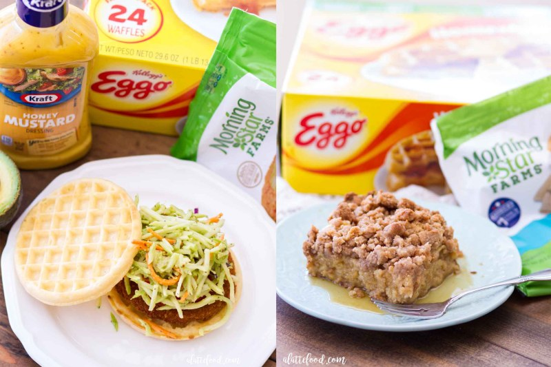 The classic chicken and waffles recipe combines the best of both sweet and savory worlds, and the two flavors are showcased in a Brown Sugar Chicken and Waffles Breakfast Casserole and a Honey Mustard Chicken and Waffles Sandwich. These are the perfect back-to-school recipes that are fun, easy, and perfect for the whole family!