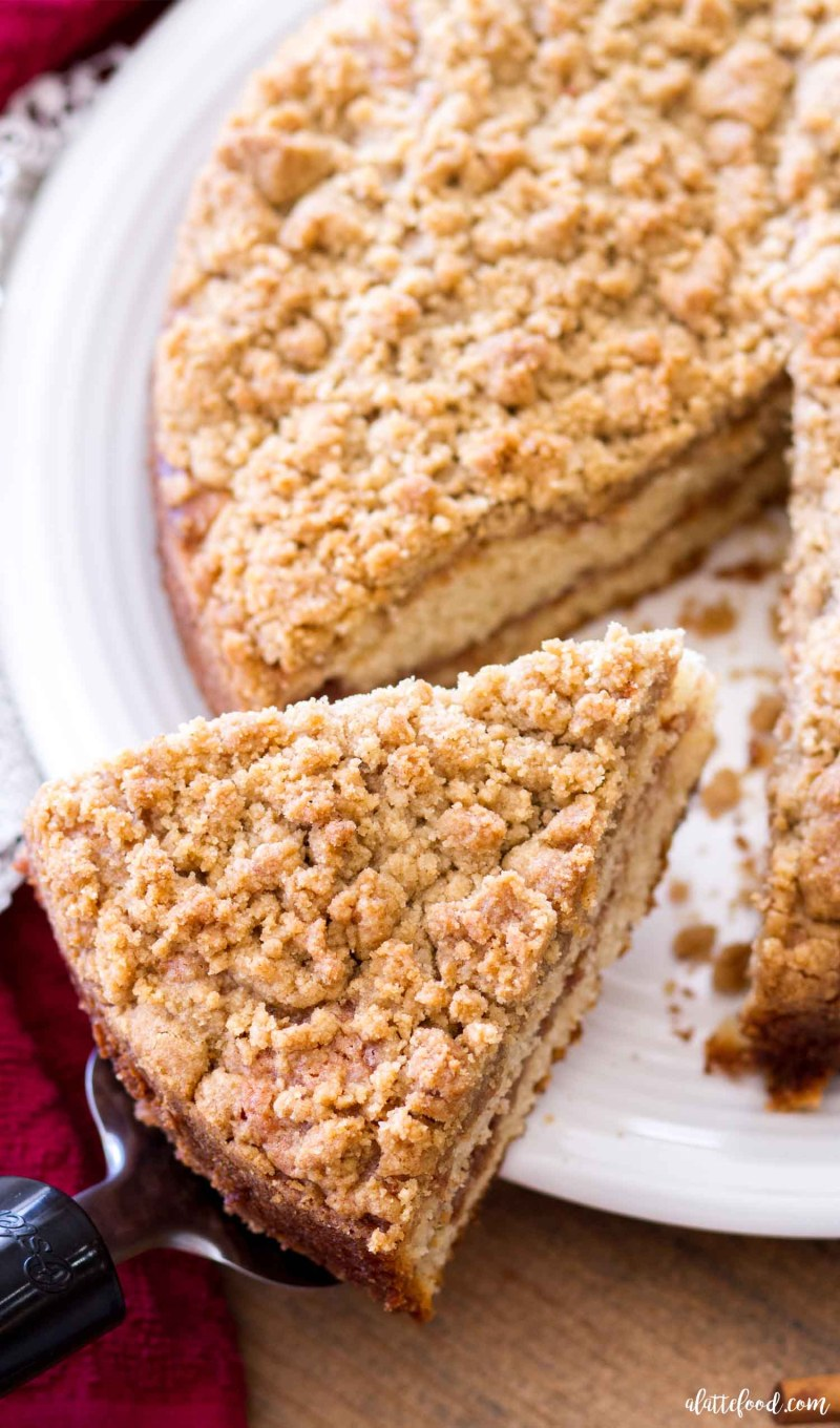 This Vanilla Chai Latte Coffee Cake recipe combines the rich, warm flavors of chai with the all of the classic coffee cake flavors. It's an easy coffee cake recipe that is transformed into a perfect fall dessert (or even breakfast treat!), as the flavors are full of sugar, spice, and everything nice. homemade coffee cake, how to make coffee cake, easy chai coffee cake