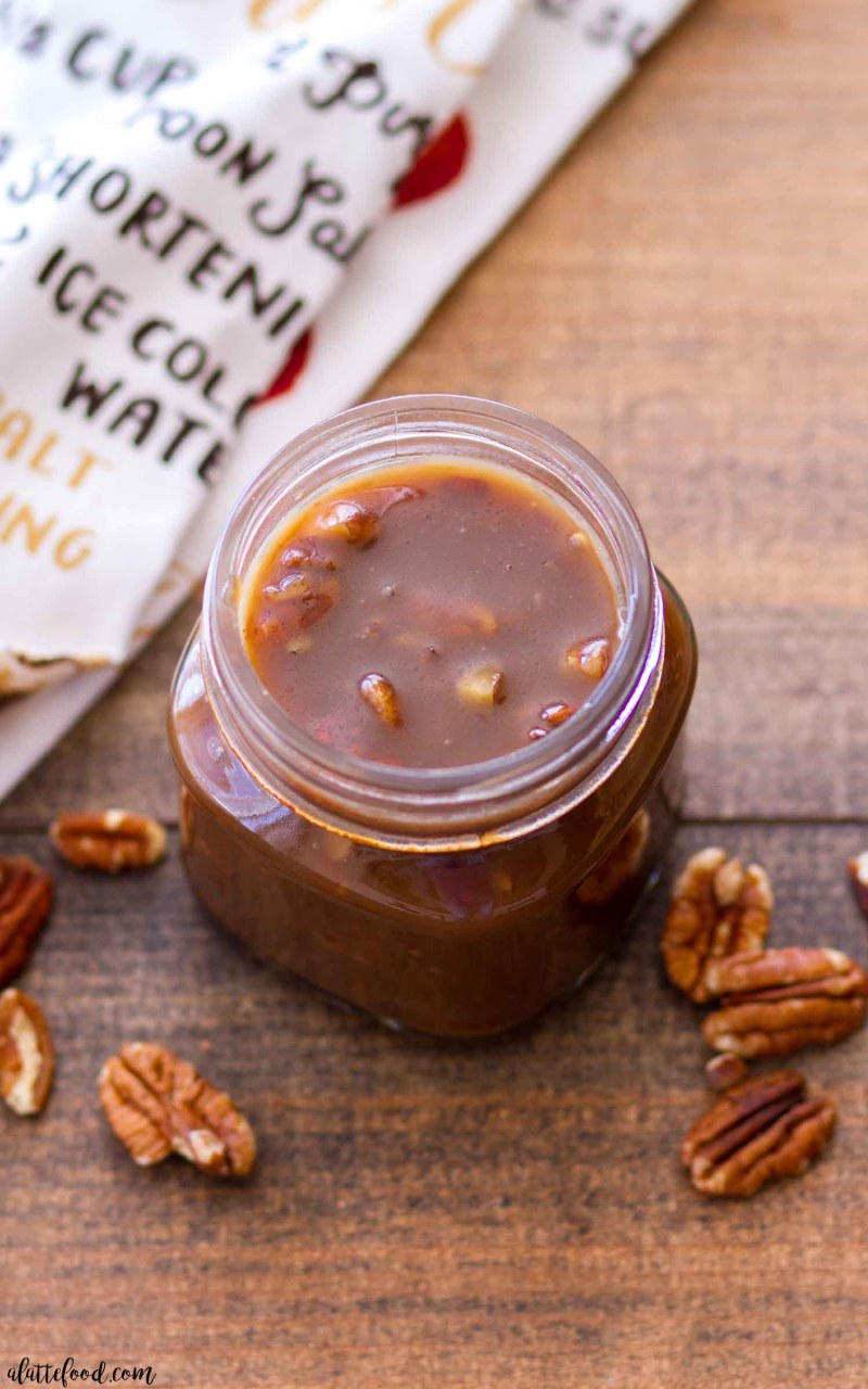 Homemade Praline Sauce (made with chopped pecans and brown sugar)