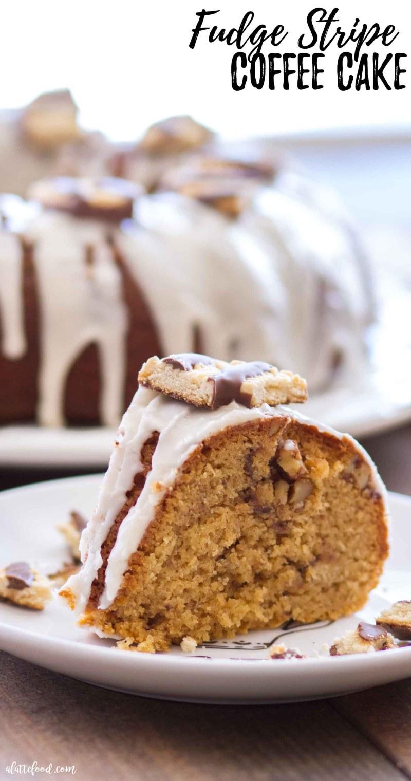 Homemade Fudge Stripe Coffee Cake Recipe Sliced with a Homemade Vanilla Glaze