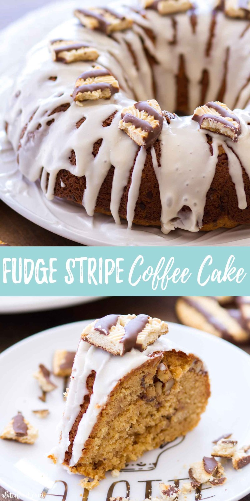 The best holiday dessert is this Fudge Stripe Coffee Cake Bundt Cake Recipe with a Vanilla Glaze
