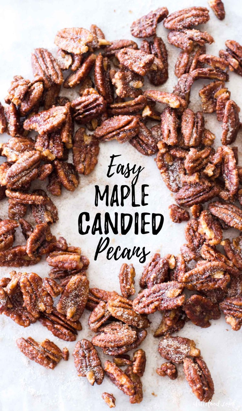 candied pecans with maple syrup on a metal pan