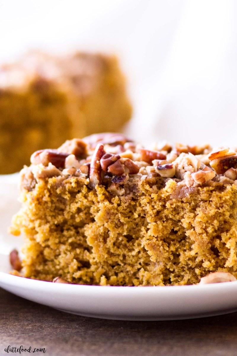 moist pumpkin coffee cake slice with brown sugar on top