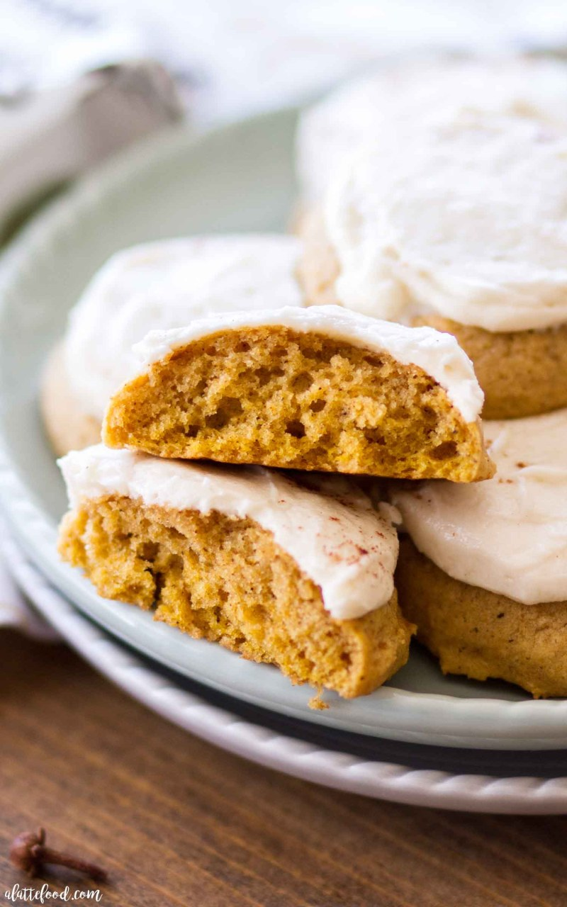 Easy Soft Pumpkin Cookies recipe with maple frosting