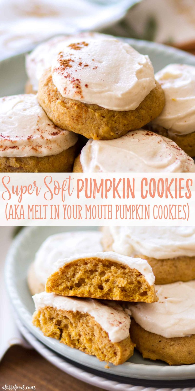 Bakery style Soft Pumpkin Cookies topped with a homemade maple frosting!