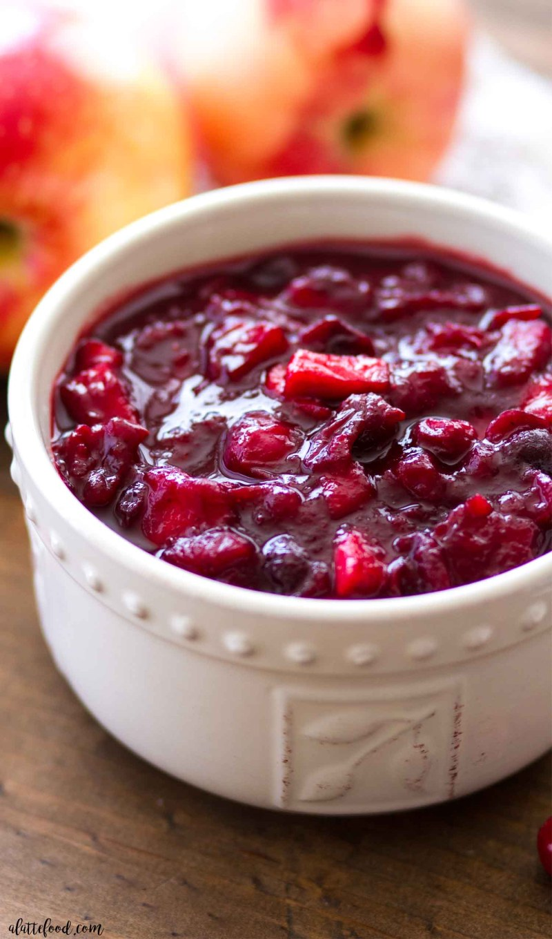 This Apple Cranberry Sauce with maple syrup is refined sugar free.