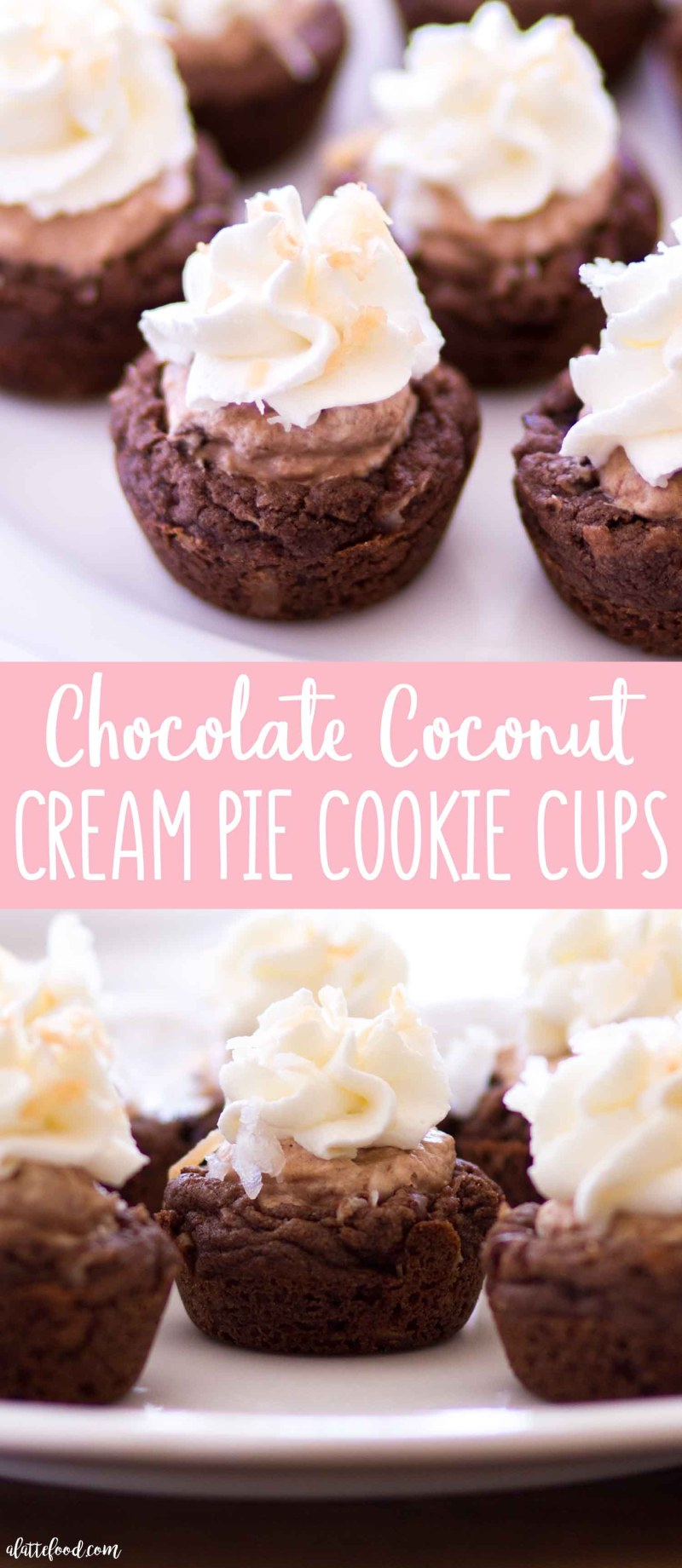 Easy Chocolate Coconut Cream Pie Cookie Cups with homemade stabilized whipped cream and toasted coconut