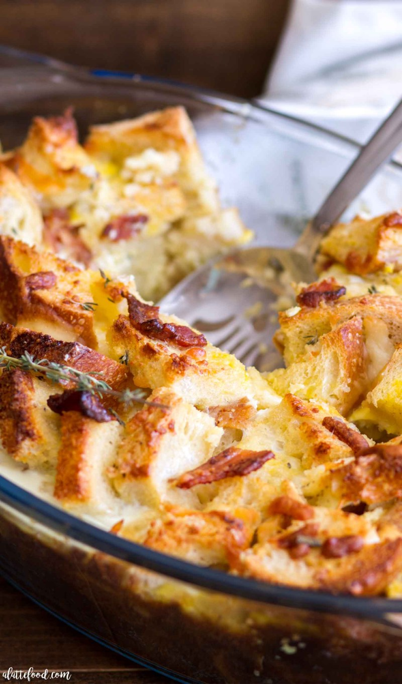 This Herb, Bacon and Egg Strata is an easy breakfast casserole recipe perfect for any holiday breakfast or brunch! Sourdough bread, fresh herbs, cheese, and Wright® Brand Bacon are the simple ingredients that give this breakfast strata its incredible flavor! We love making this for Christmas morning!
