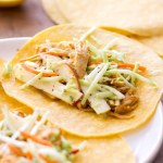 These homemade Pumpkin Butter Chicken Tacos are made in the slow cooker and topped with an apple slaw. The rich corn tortilla flavor pairs perfectly with the subtly sweet pumpkin butter chicken. It's a unique yet incredibly easy dinner recipe full of seasonal flavors!