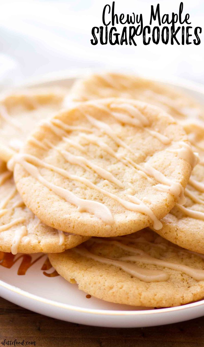 Chewy maple sugar cookies are rolled in cinnamon sugar and topped with a maple icing.
