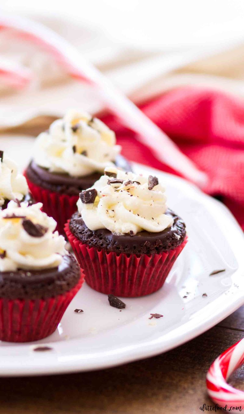 These mini flourless chocolate peppermint cupcakes are rich, fudgy and a perfect Christmas dessert! Flourless chocolate cupcakes are topped with a peppermint ganache and stabilized whipped cream frosting.