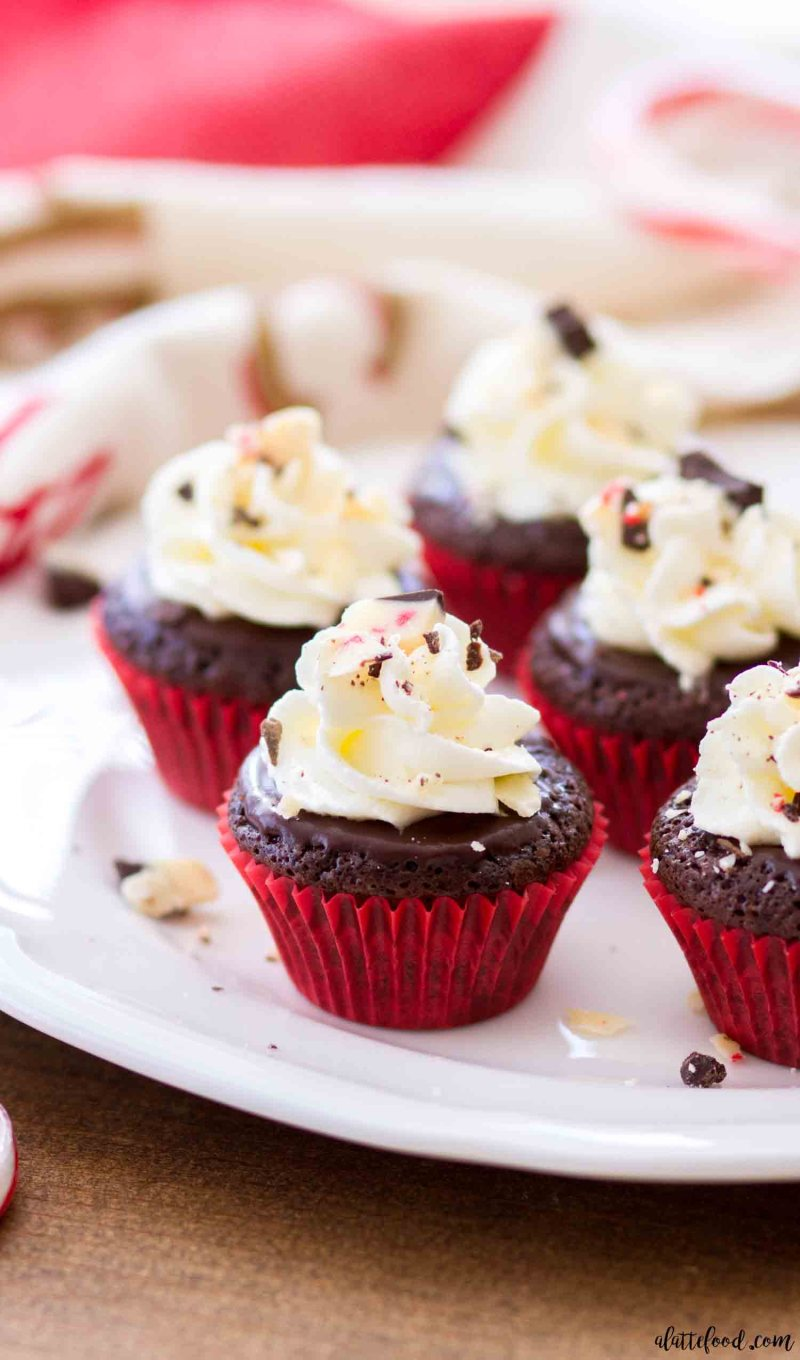 Flourless chocolate cupcakes with peppermint are topped with a peppermint ganache and stabilized whipped cream frosting.