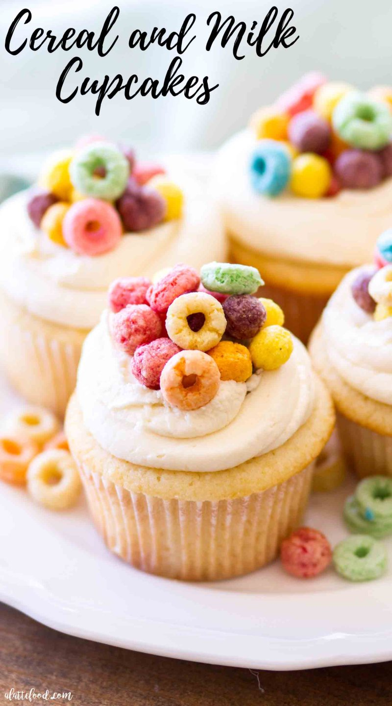 Homemade Cereal and Milk Cupcakes are topped with a cereal milk buttercream. Homemade vanilla cupcakes with cereal milk and cereal milk frosting.