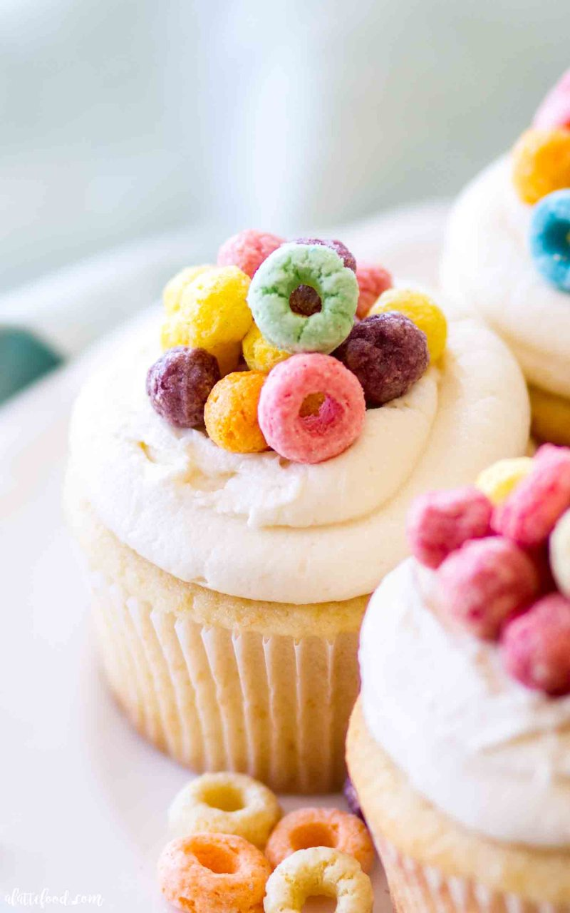 These Cereal and Milk Cupcakes are topped with a cereal milk buttercream.