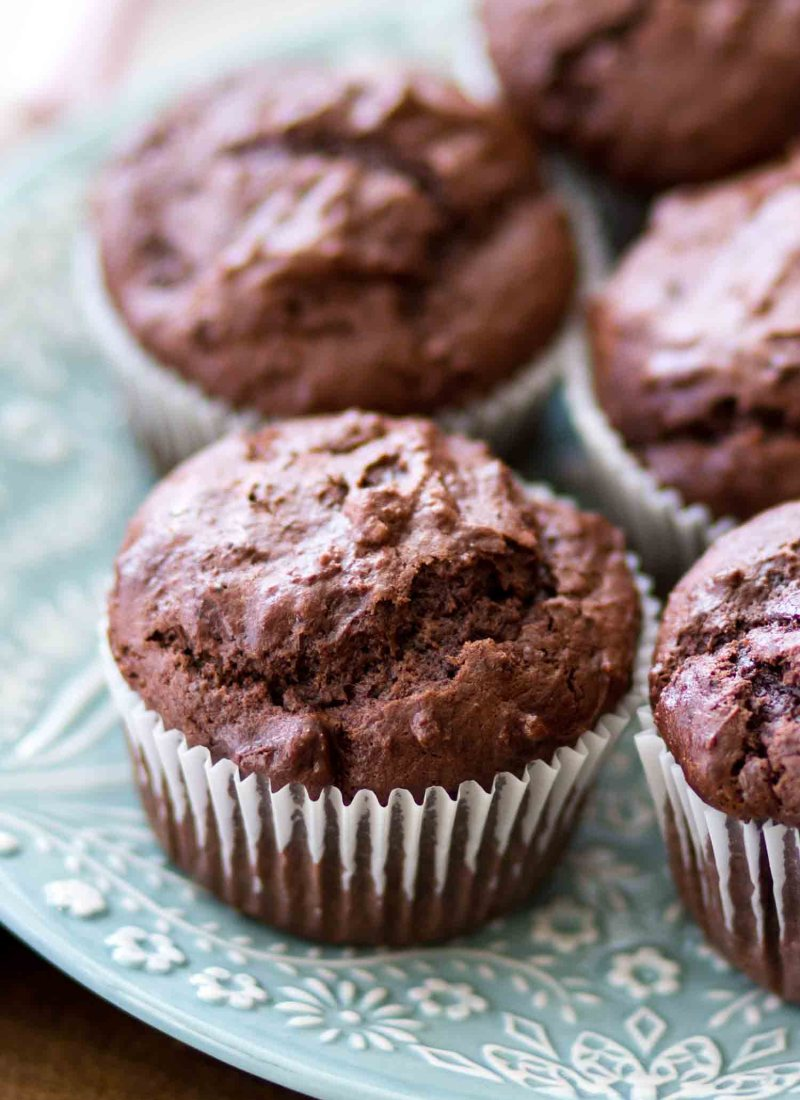 These easy Double Chocolate Chunk Muffins are rich, chocolatey and made in just one bowl! Homemade chocolate muffins make a sweet breakfast treat or an afternoon pick-me-up.