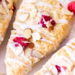 homemade raspberry scones with toasted almonds