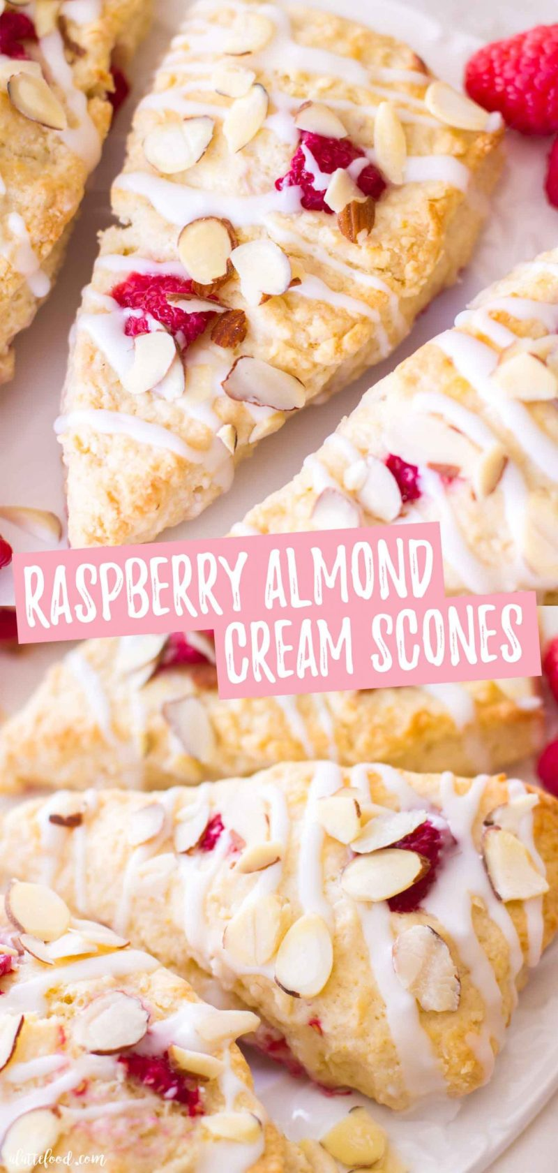 homemade raspberry almond cream scone recipe with toasted almonds