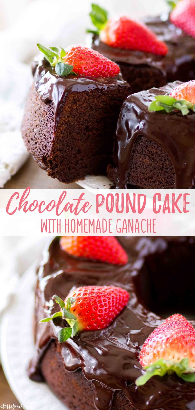 Easy chocolate pound cake recipe with homemade chocolate ganache collage photo