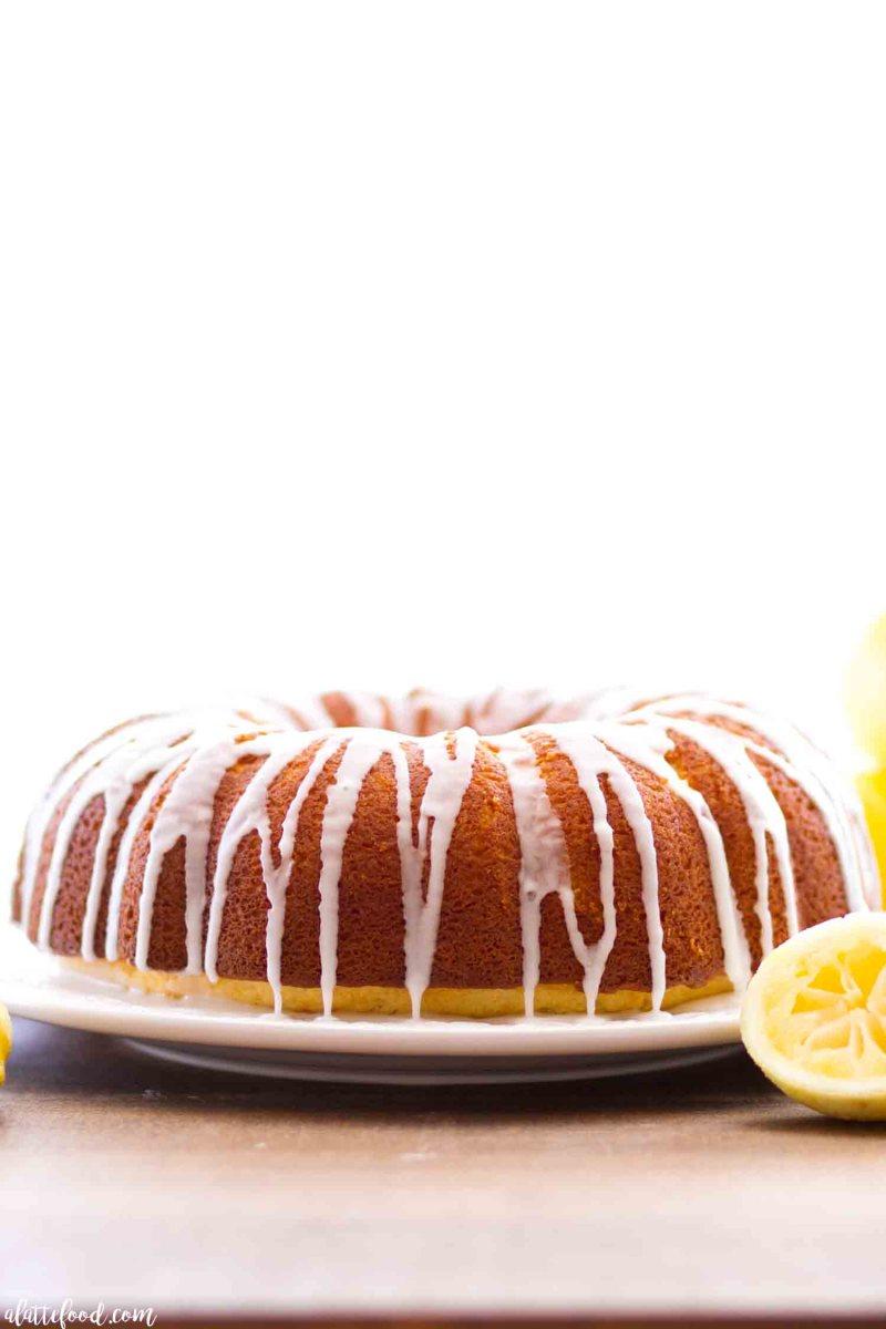 This easy lemon bundt cake recipe is topped with a fresh lemon glaze