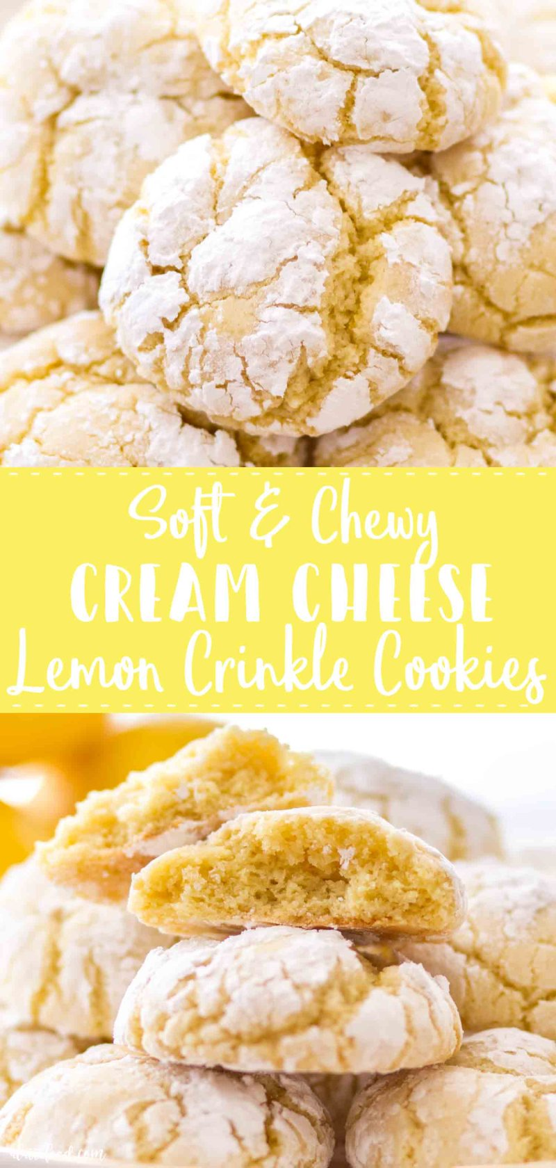Soft and Chewy Cream Cheese Lemon Crinkle Cookies (aka lemon crinkle cookies with cream cheese) make the best spring dessert!
