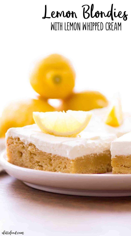 Rich lemon blondies and lemon frosting