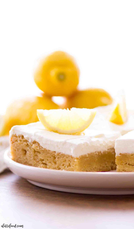 Lemon Blondies with a homemade lemon Whipped Cream Frosting