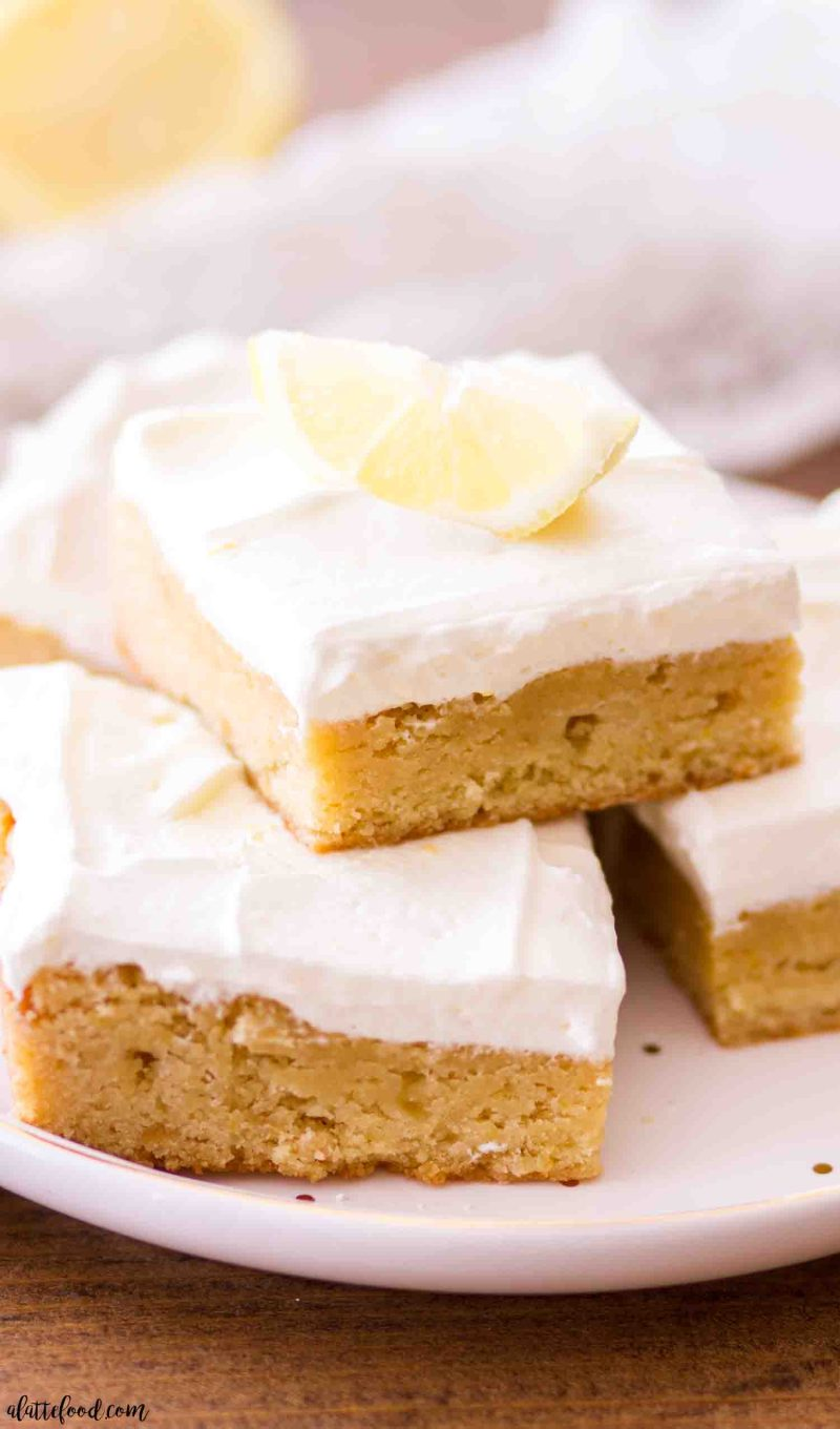Easy lemon blondie recipe with homemade lemon frosting