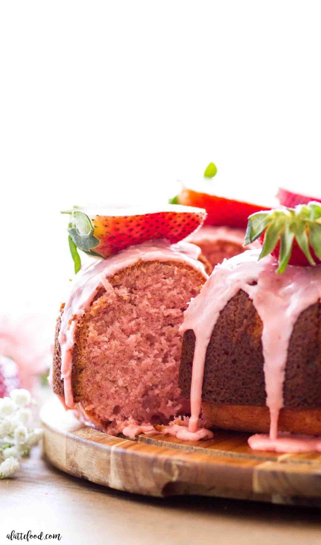 The best homemade strawberry bundt cake with fresh strawberries