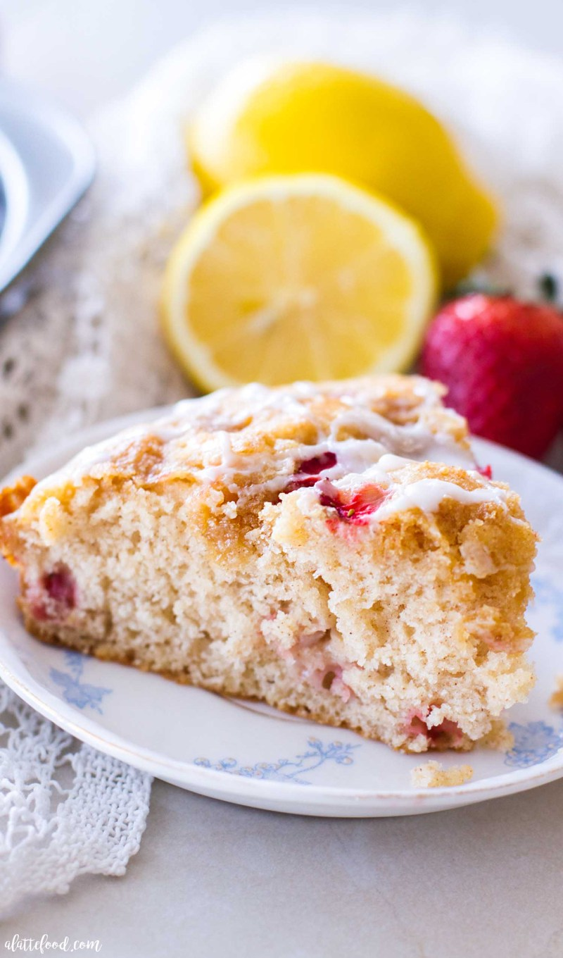 slice of coffee cake with strawberry and lemon