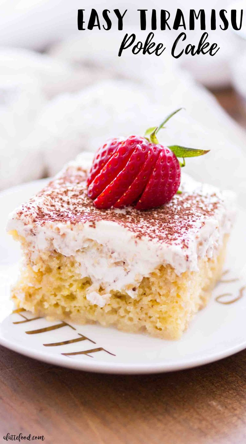 A slice of tiramisu cake topped with whipped cream and strawberries makes the best easy dessert!