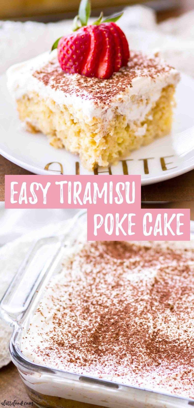 This gorgeous tiramisu cake is an easy tiramisu poke cake recipe that's full of coffee cream, whipped cream frosting, and fresh strawberries.