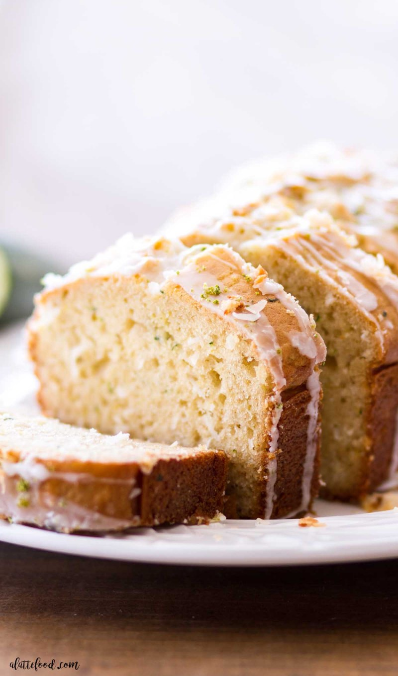 coconut lime zucchini bread loaf cake cut in slices