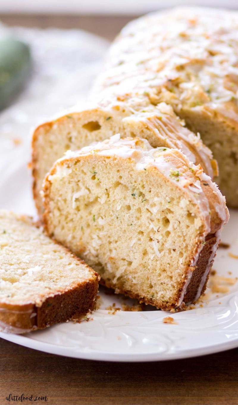 zucchini quick bread with lime and coconut sliced