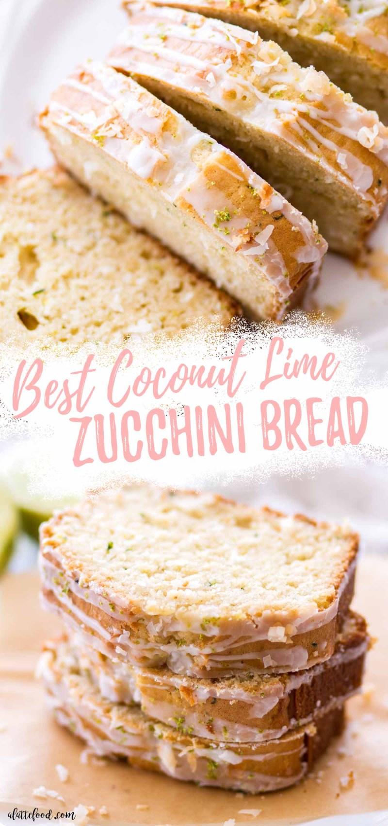 moist coconut lime zucchini bread slices collage