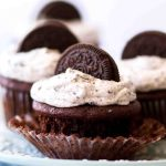 Moist chocolate oreo cupcakes with cookies and cream frosting