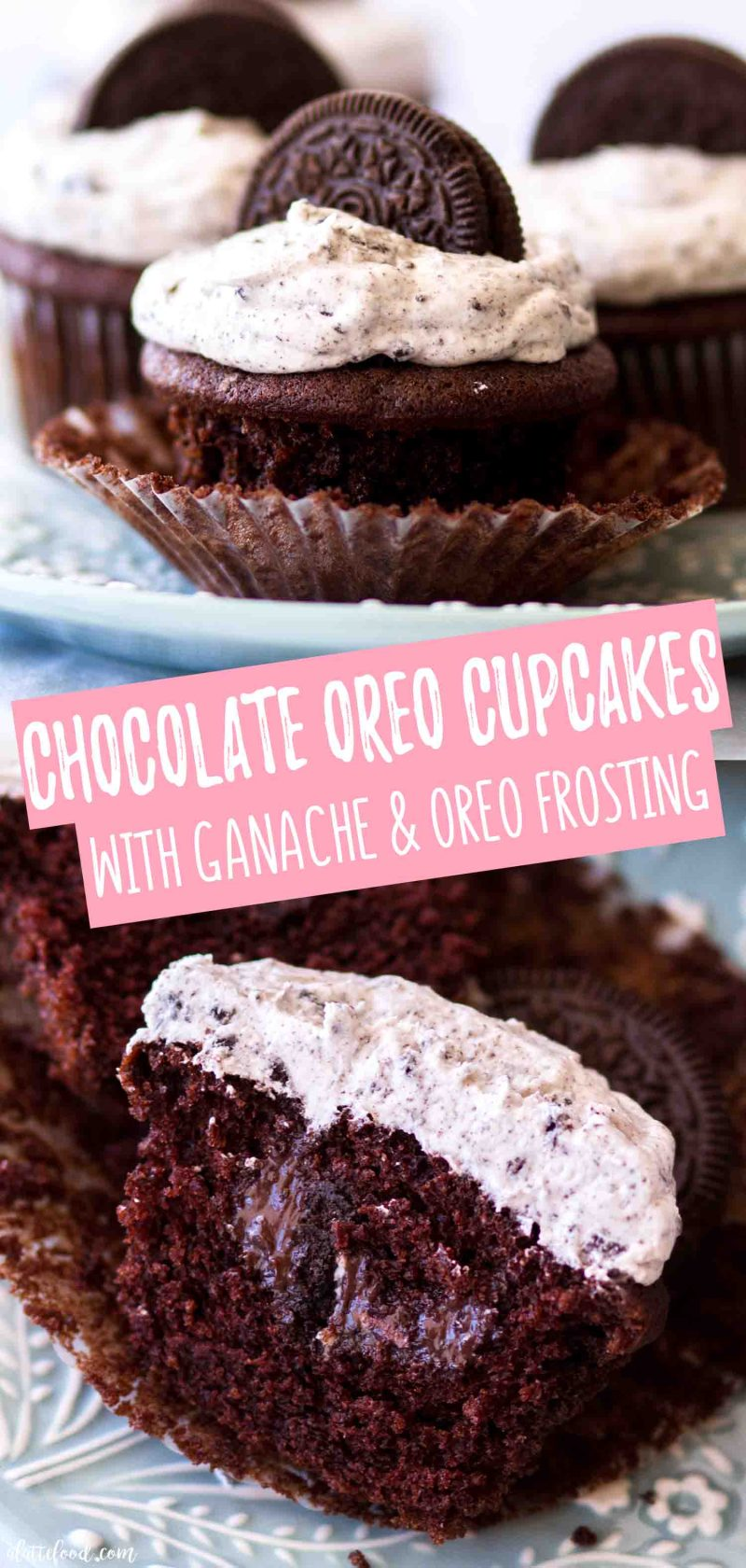 Moist chocolate oreo cupcakes with homemade ganache and cookies and cream frosting
