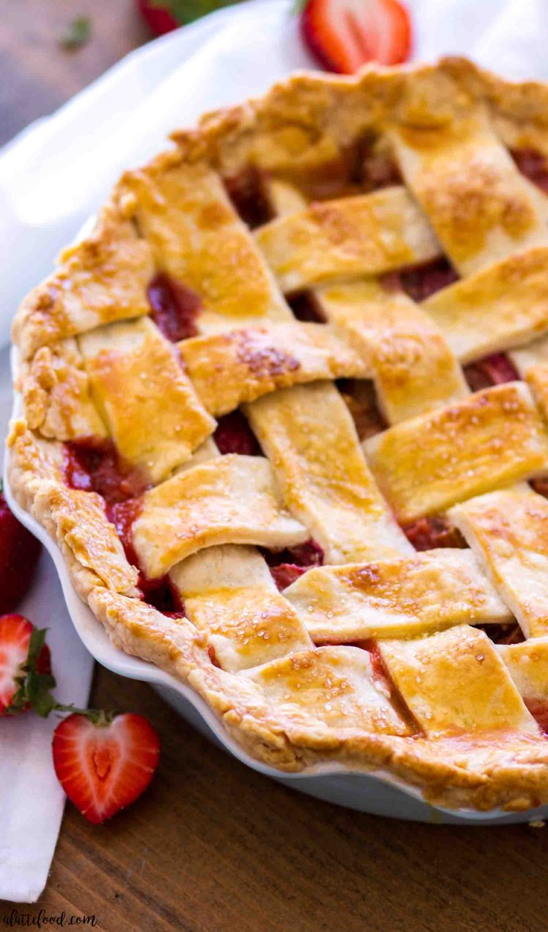 "Easy strawberry rhubarb pie with a lattice crust in a 10"" pie plate"
