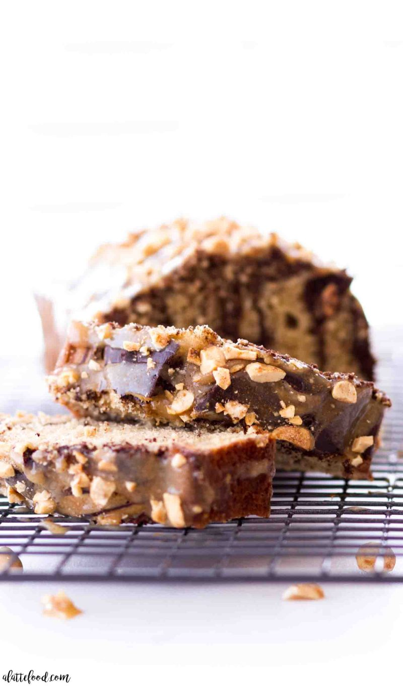 Easy chocolate peanut butter loaf cake with a peanut butter glaze on top