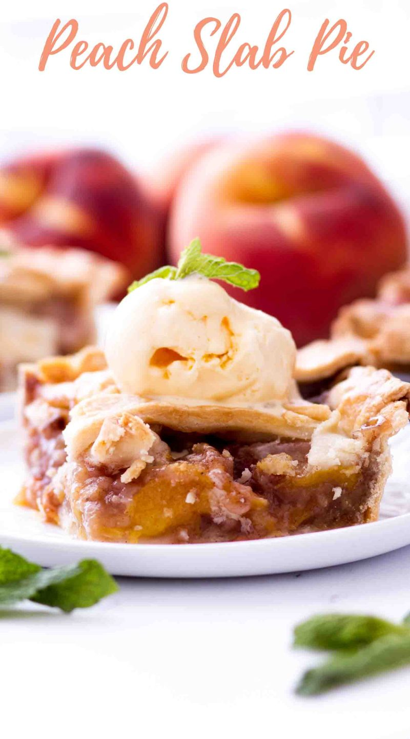 This easy peach pie is a fresh peach slab pie topped with ice cream and made with a homemade butter crust.