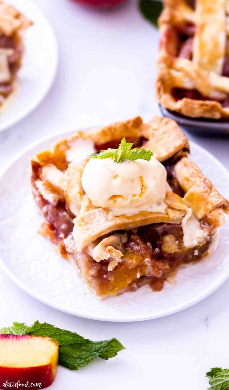 The best homemade peach pie recipe with fresh peaches begins as a peach slab pie and is made with a homemade pie crust.