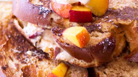 Peach cream cheese stuffed french toast (aka peach cheesecake stuffed french toast)